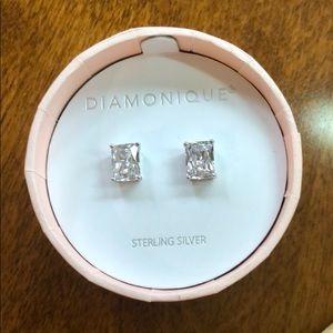 New DIAMONIQUE Emerald cut sterling stud Earrings
